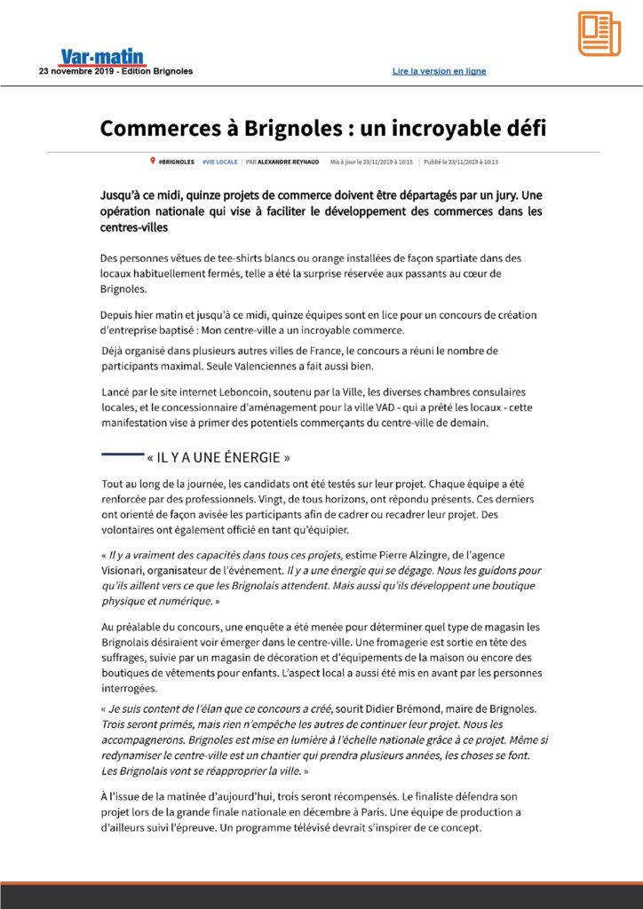 Article Brignoles MCVAIC
